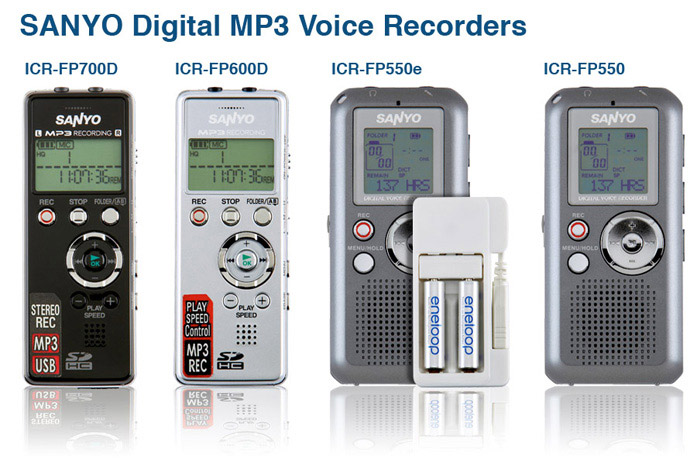 Sanyo digital mp3 voice recorders