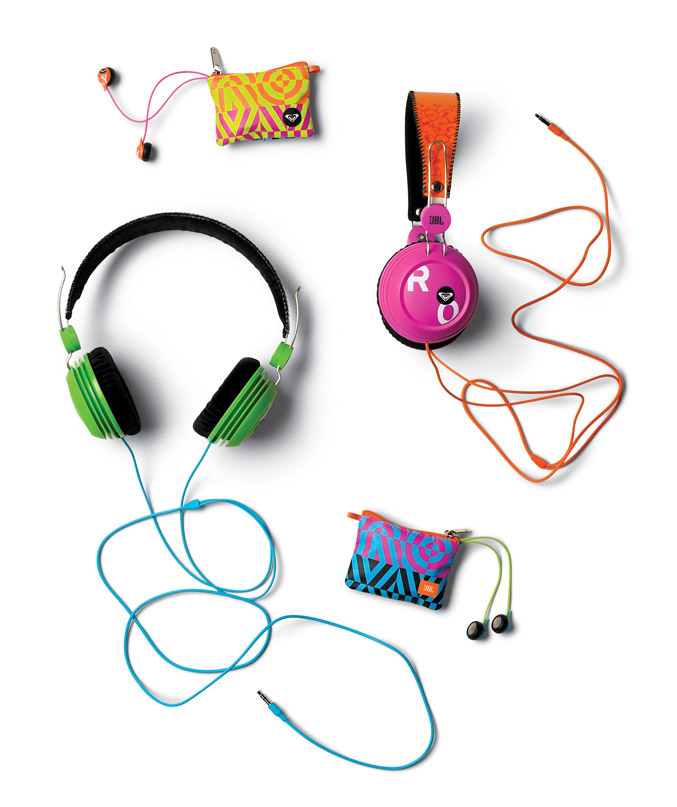 JBL and Roxy earphone and headphone line