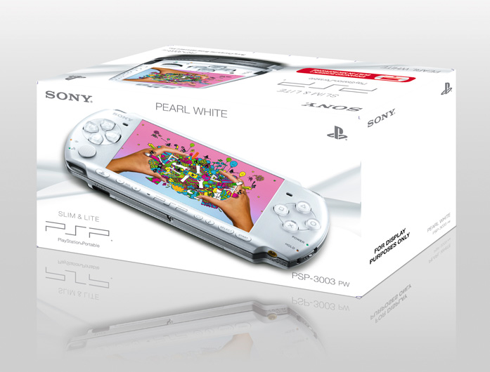 Pearl White PSP with Petz: My Puppy Family and Petz: My Baby Hamster