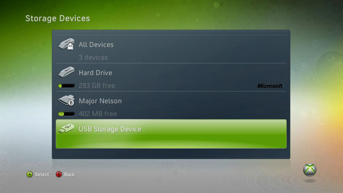 Xbox 360 USB Mass Storage