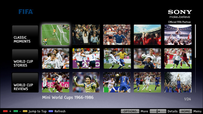 Sony starts streaming the FIFA World Cup Collection to BRAVIA TVs and Blu-ray Disc