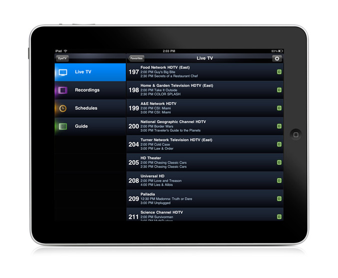 Eye TV app ipad livetv list