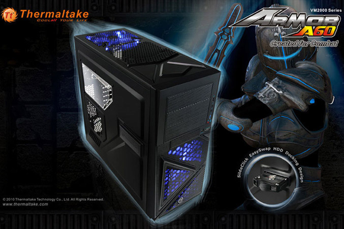 Thermaltake outs ARMOR A60 Mid-Tower with SideClick EasySwap HDD docking