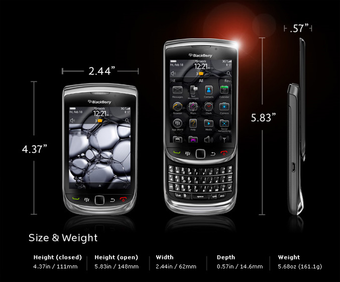 Black Berry Torch specification