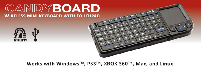VisionTek CandyBoard mini wireless keyboard with integrated touch pad