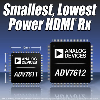 Analog Devices announced the industrys smallest HDMI single-chip receivers