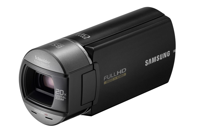 Samsung HMX-Q10 HD camcorder flips screen automatically
