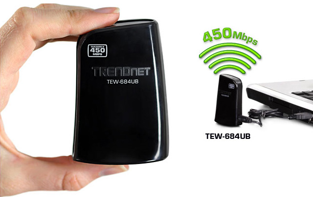 TRENDnet  TEW-684UB  450 Mbps Dual Band Wireless N USB Adapter