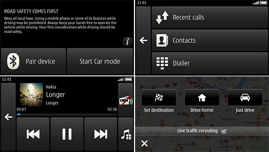 Nokia Car Mode screen