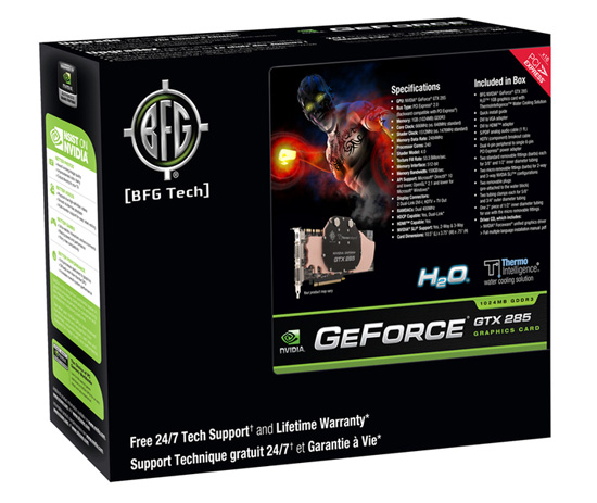 BFG NVIDIA GeForce GTX 285 H2O 1GB box