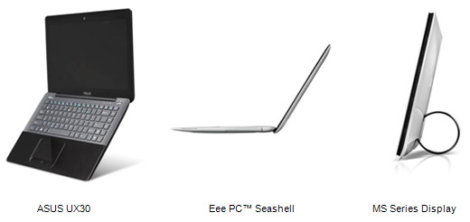 Asus-ASUS UX30 notebook, Eee PC Seeshell, MS series display