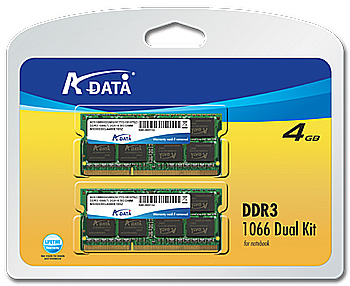 A-DATA DDR3 memory module kits 1066 DuN 4G