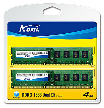 A-DATA DDR3 memory module kits 1333 4G