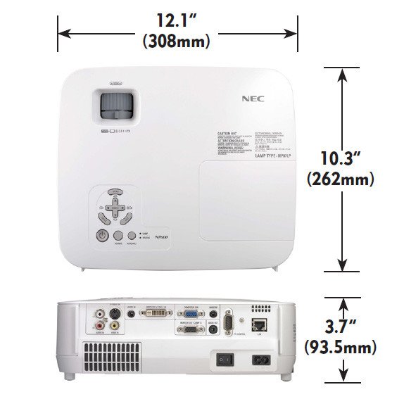 Nec-NP-portable-series-dimensions