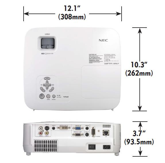 Nec-NP-portable-series-dimensions
