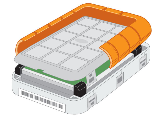 LaCie Rugged eSATA external hard drive interior