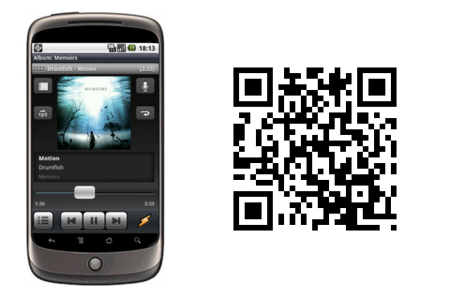 winamp for android and QR code
