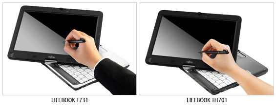 Fujitsu LifeBook T731 and TH701 dual-touch notebooks