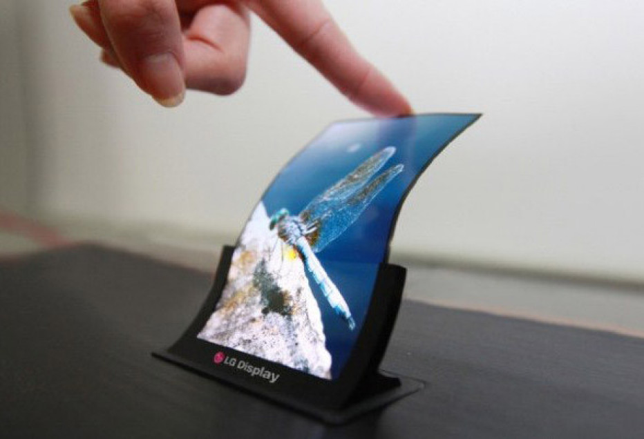 LG presents first flexible OLED display