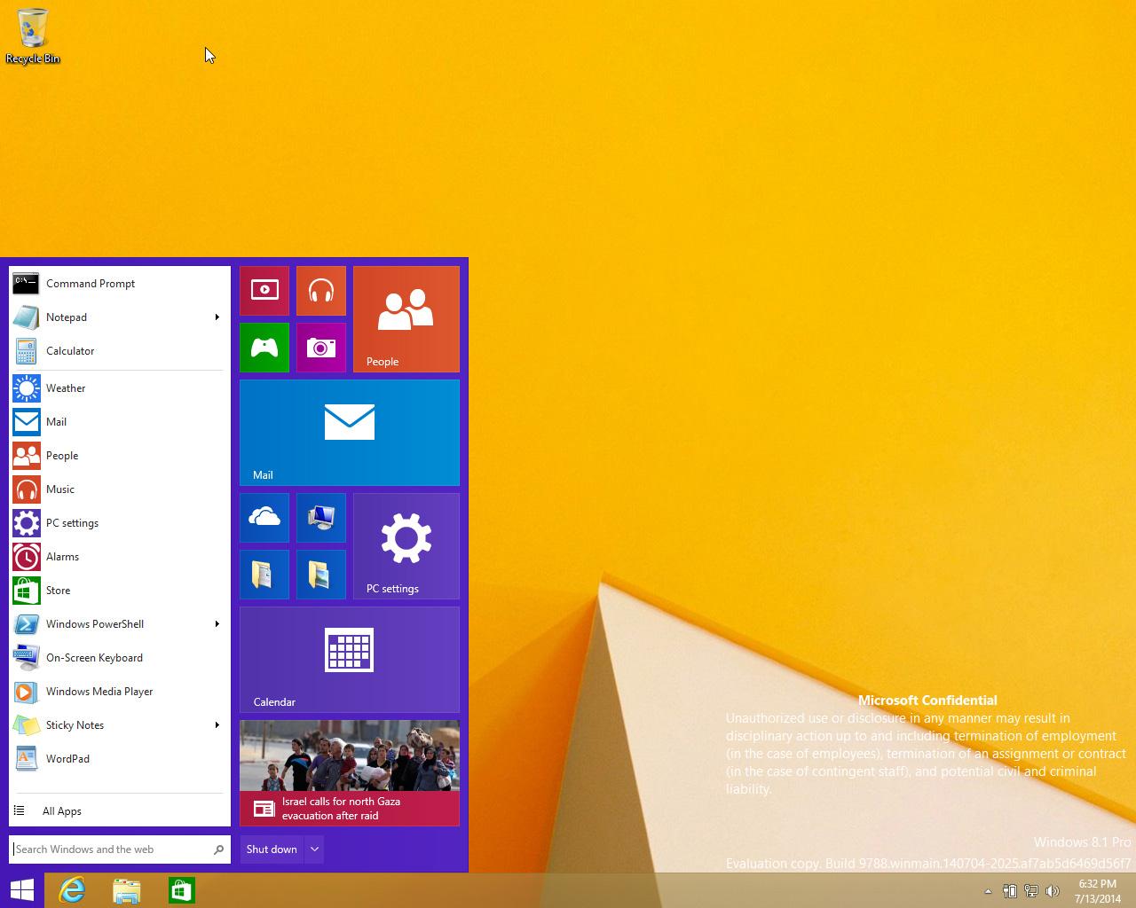 Windows 9 Start menu