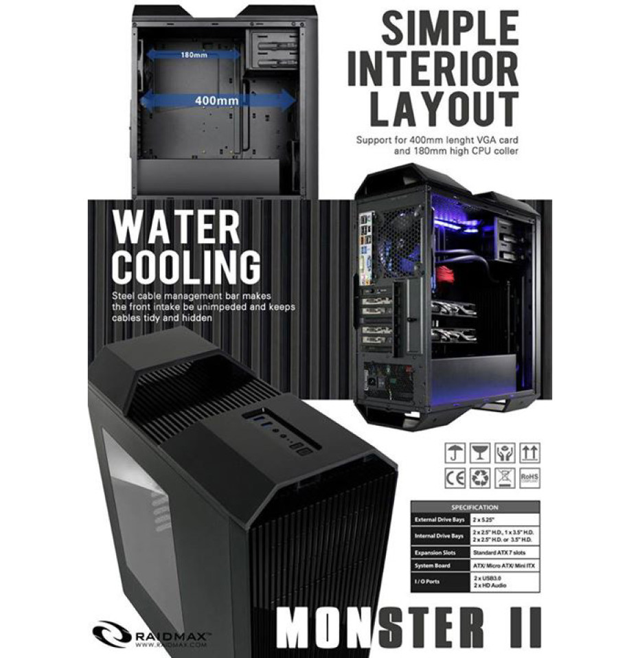 Raidmax prepares Monster II PC chassis