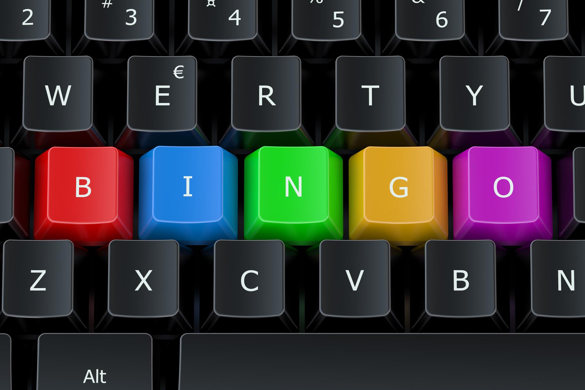 Bingo concept on the computer keyboard